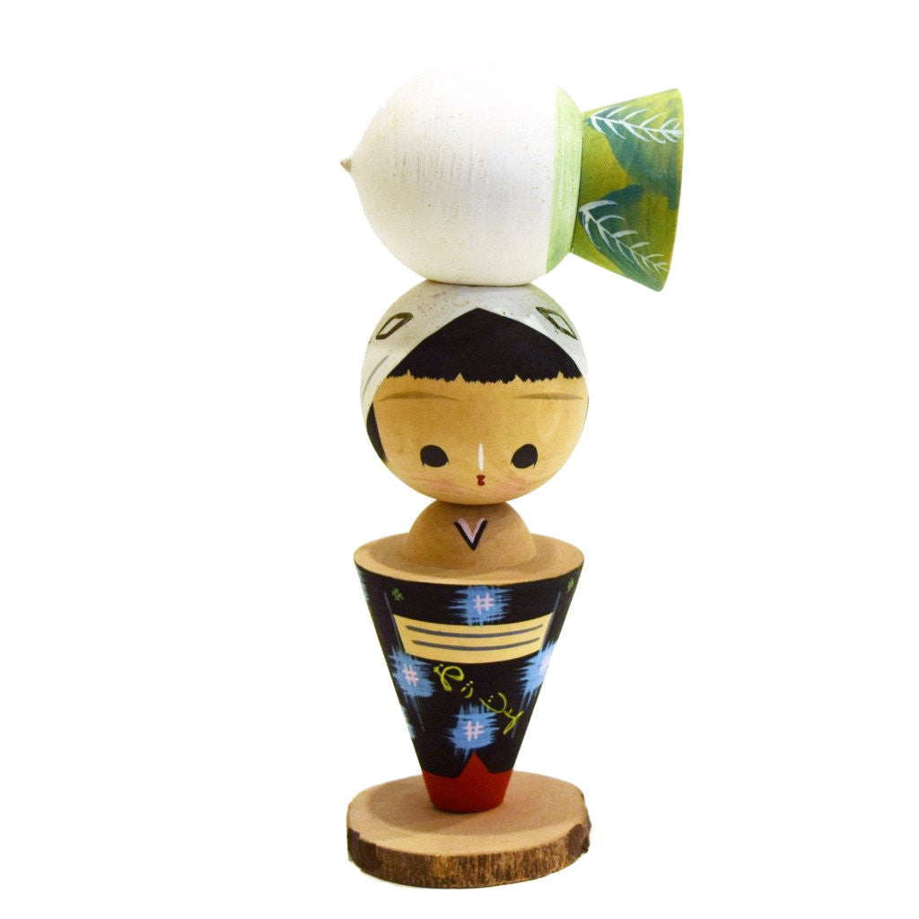 Kokeshi Doll With Radish Hat - SARAJANEaccessories