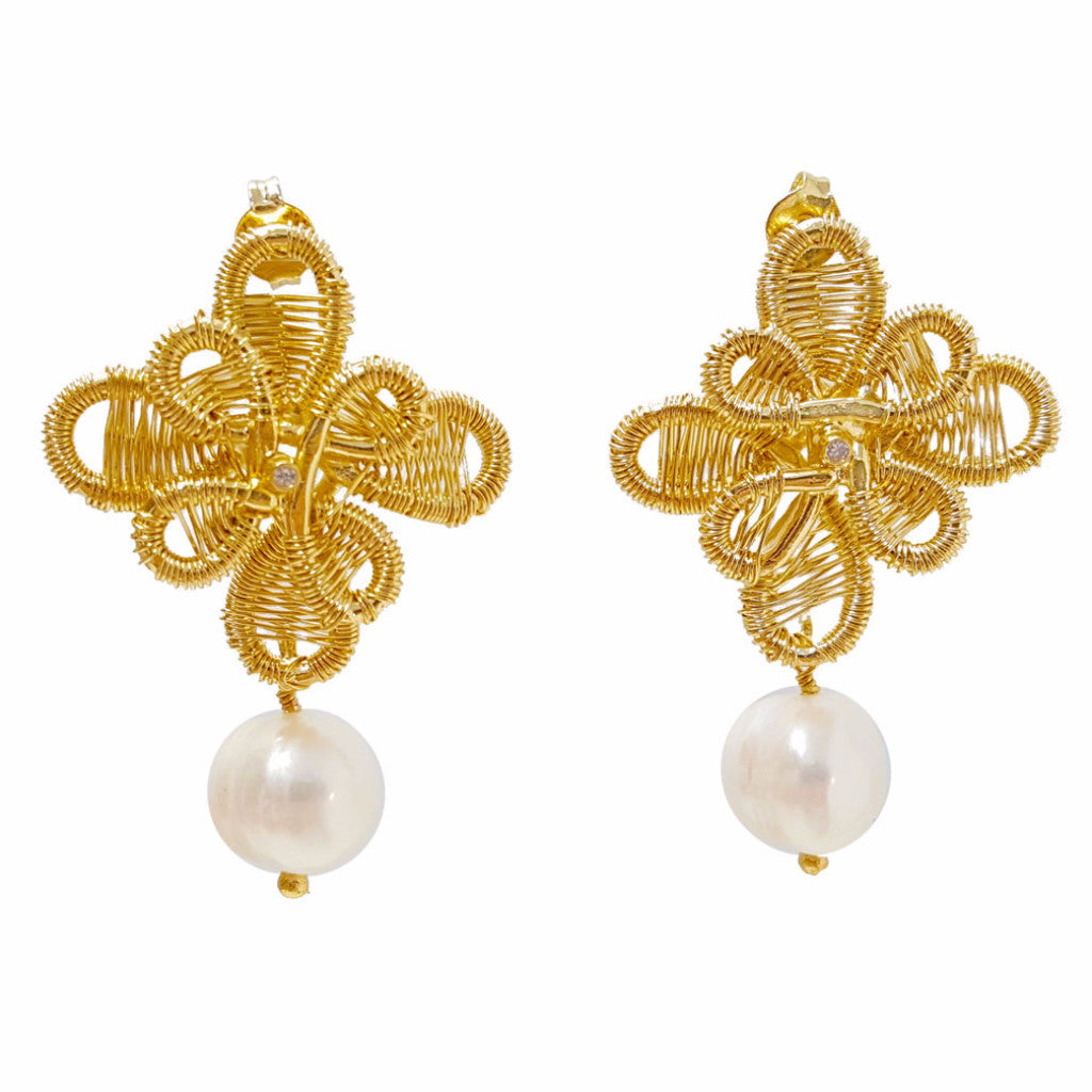 Pearls And Gold Earrings - SARAJANEaccessories - 2