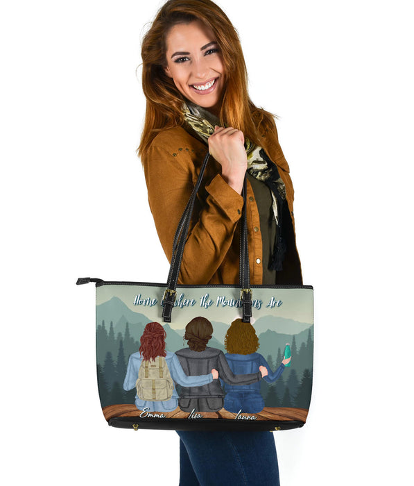Home is where the mountain are Leather Tote - Large