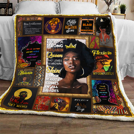 I Am A Strong Melanin Queen - Fleece Blanket