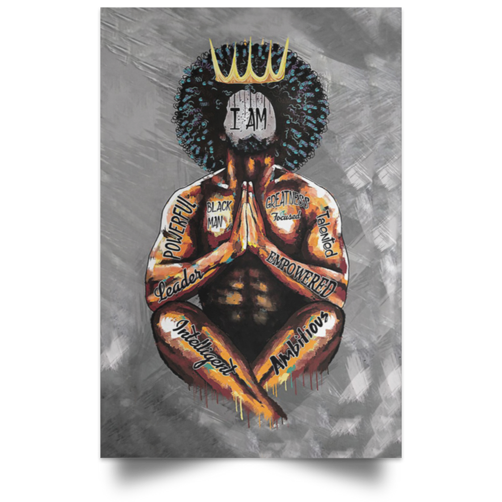 Black King Praying I Am Vertical Poster