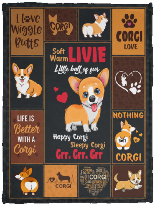Personalized Blankets Soft Corgi