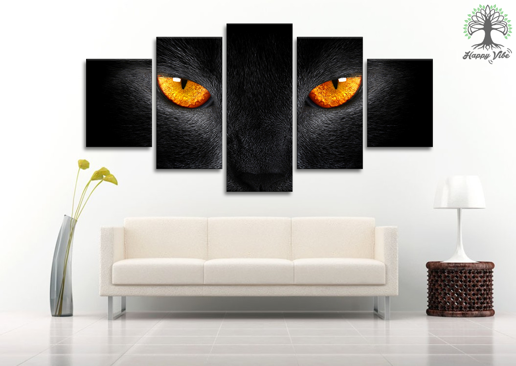Black Cat Canvas Wall Art Prints