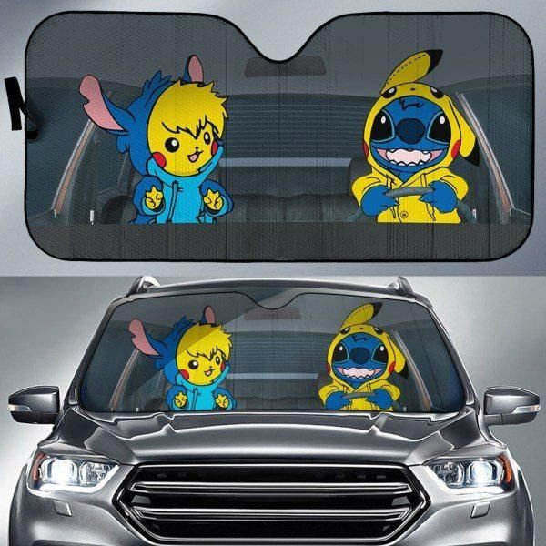 PIKACHU AND STITCH CAR SUNSHADE