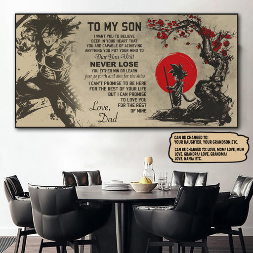 (LD76) Customizable DR Poster – Dad to son- Never lose