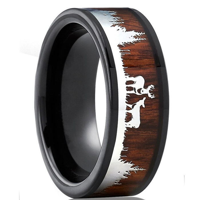 Black Tungsten Hunting Ring
