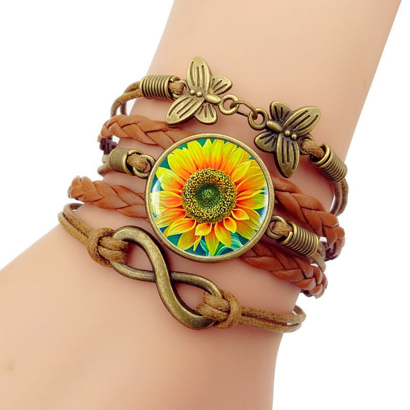Leathers Braided Bracelet Sunflower