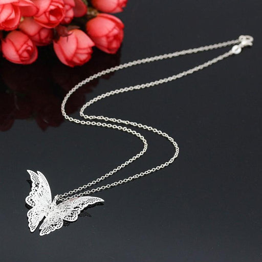 925 Sterling Silver Lovely Butterfly Pendant Chain Necklace