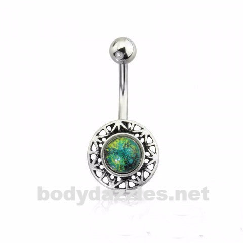 Silver Burnish Stone Encapped Round Belly Ring 316L Surgical Steel Navel Ring