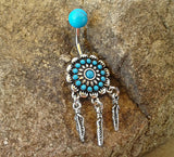 Dream Catcher Turquoise Center with Feathers Belly Button Ring Navel Ring Belly Piercing 14ga 316L Surgical Stainless Steel Body Jewelry