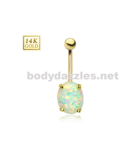 Oval Opal Center with Clear CZ Frame Solid 14KT Gold Non Dangle Navel Ring 14ga