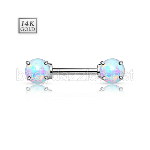 Double Prong Set Opal Stone 14K White Gold Nipple Bar Nipple Ring 14ga Body Jewelry