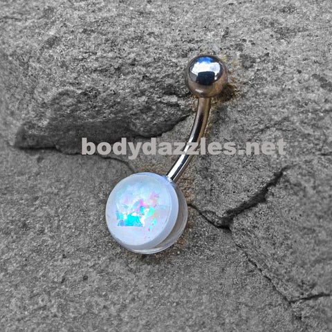 White Opal Glitter Set On Clear Acrylic Ball 316L surgical Steel Belly Button Navel Rings