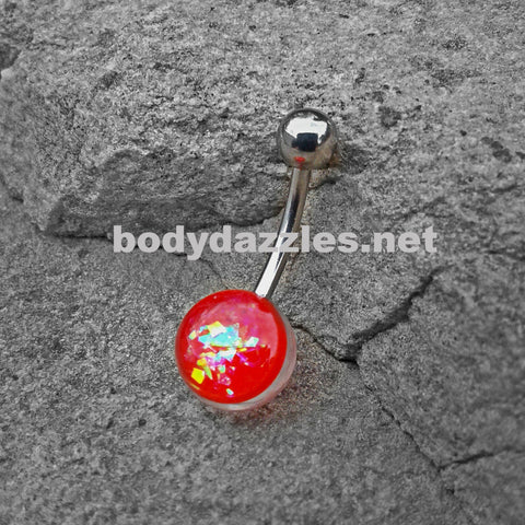 Red Opal Glitter Set On Clear Acrylic Ball 316L surgical Steel Belly Button Navel Rings