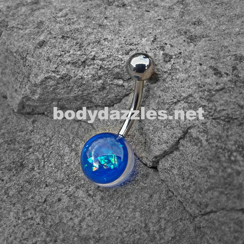 Dark Blue Opal Glitter Set On Clear Acrylic Ball 316L surgical Steel Belly Button Navel Rings