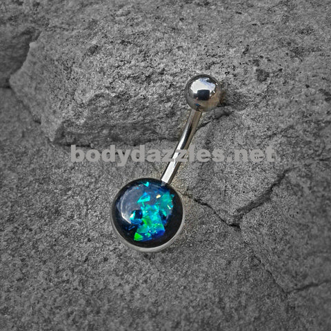 Green Opal Glitter Set On Clear Acrylic Ball 316L surgical Steel Belly Button Navel Rings