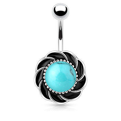 Flower Belly Ring 14ga Surgical Steel Turquoise Navel Ring Body Jewelry - BodyDazzle