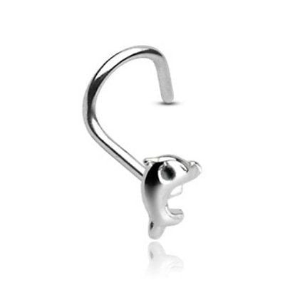Dolphin Nose Screw 3mm with 20GA .925 Sterling Silver Nose Jewelry - BodyDazzle