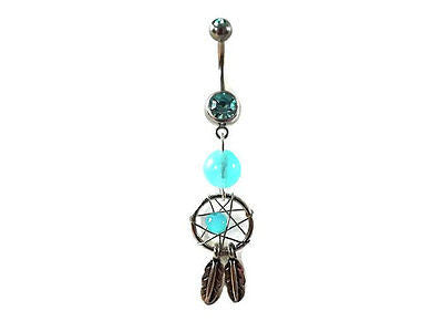 Glow In the Dark Dream Catcher Belly Ring Navel Ring 14ga Surgical Stainless - BodyDazzle