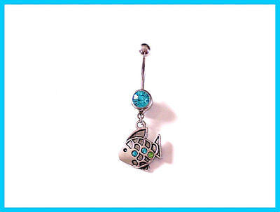 Fish Belly Ring with Blue Rhinestone Body Jewelry 14a - BodyDazzle