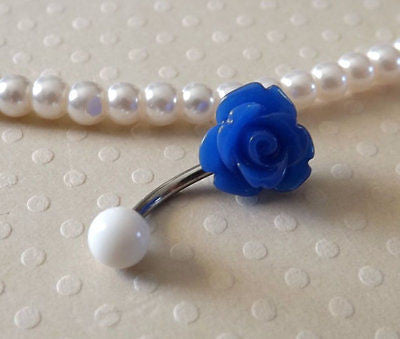 Blue Rose Belly Ring 14ga Navel Ring Stainless Steel Body Jewelry Flower Belly - BodyDazzle - 1