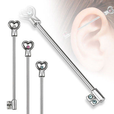 "Heart Key with CZs Industrial Barbell 14ga With Blue Rhinestone 1 3/8"" 316L Surgical Stainless Steel - BodyDazzle"