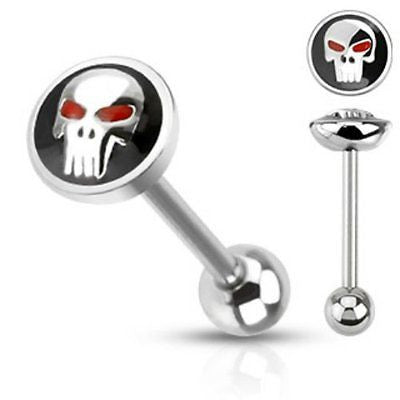 Skull in Black Tongue Ring 14ga Surgical Steel Barbell4ga - BodyDazzle - 2