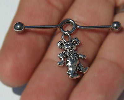 Grateful Dead Dancing Bear Industrial Barbell 14ga Scaffold Upper Ear 316L Surgical Stainless Steel - BodyDazzle