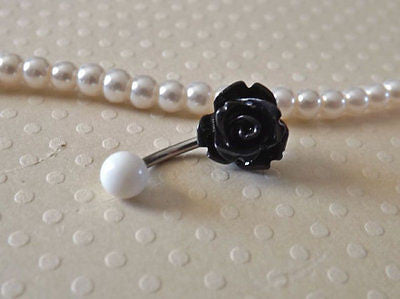 Rose Black Belly Ring 14ga Navel Ring Stainless Steel Body Jewelry flower - BodyDazzle - 1