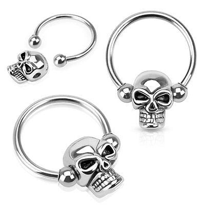 "Skull Bead 316L Surgical Steel Captive Bead Ring 16ga 1/2"" Hoop - BodyDazzle - 2"