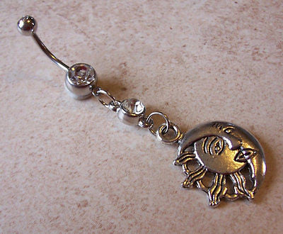Tribal Sun and Moon Belly Ring with Rhinestone Body Jewelry 14ga - BodyDazzle