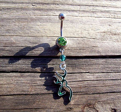 Browning Deer Head Green Belly Ring Body Jewelry Navel Ring 14ga - BodyDazzle