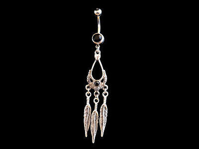 Dream Catcher Belly Ring with Black with Feather Accents 14ga Navel Ring - BodyDazzle