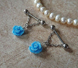Blue Rose Flower Nipple Ring 14ga Barbell Body Jewelry Stainless Steel 1 Set - BodyDazzle - 2