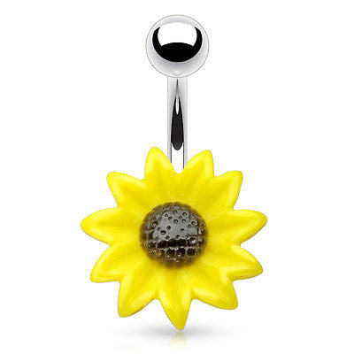 Sun Flower Navel Ring Belly Ring 14ga Surgical Stainless Steel Body Jewelry - BodyDazzle