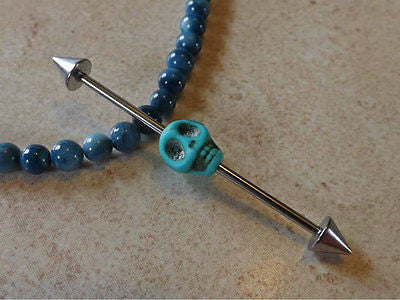 "Turquoise Skull Industrial Piercing Barbell 14ga Body Jewelry Ear Jewelry 1 1/2"" - BodyDazzle"