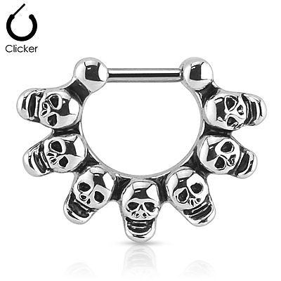 Linked Skulls Septum Clicker Ring 16ga 316L Surgical Steel Bar - BodyDazzle - 2
