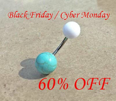 Turquoise Stone White Ball Belly Navel Ring Body Jewelry 14ga Surgical Steel Black Friday Cyber Monday Sale