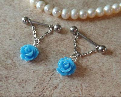 Blue Rose Flower Nipple Ring 14ga Barbell Body Jewelry Stainless Steel 1 Set - BodyDazzle - 1