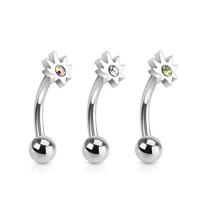 Gemmed Pot Leaf Top 16ga Surgical Steel Curved Eyebrow Barbell GREEN RHINESTONE - BodyDazzle