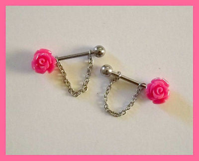 Pink Rose Flower Nipple Ring 14 ga Barbell Body Jewelry Stainless Steel 1 Set - BodyDazzle - 1