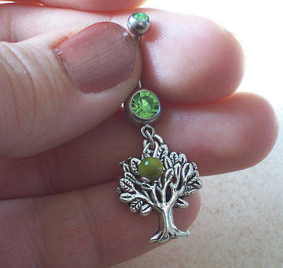 Tree of life Belly Ring with Green Bead Accent Body Jewelry 14ga - BodyDazzle - 1
