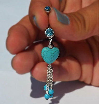 Turquoise Stone Heart belly Button Navel Ring With Turquoise Beads 14ga - BodyDazzle - 1