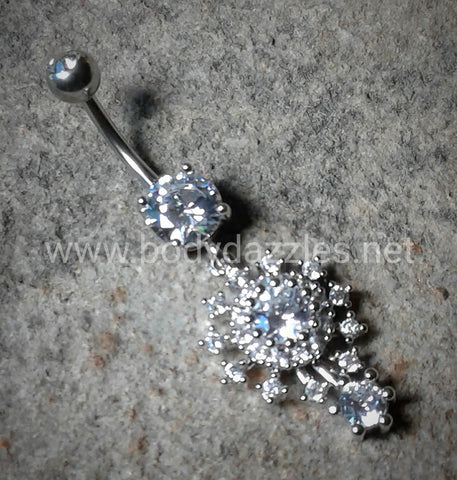 Beautiful Big Bang Atomic Belly Button Ring 14ga Navel Ring Body Jewelry Dangling