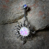 Shimmering Opal Sun Belly Button Ring 14ga Navel Ring Body Jewelry