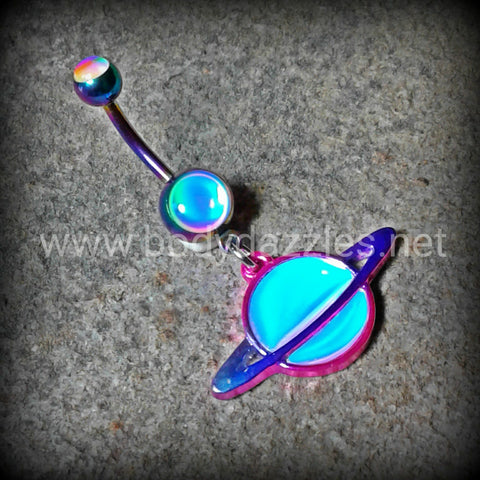 Rainbow Colorline Saturn Planet Revo Belly Button Ring Stainless Steel Body Jewelry 14ga