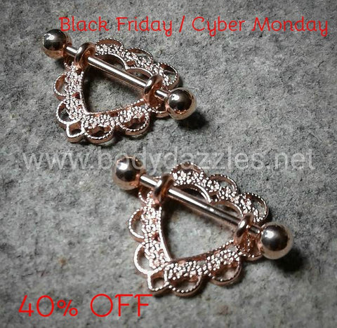Pair of Rose Gold Heart Filigree Nipple Shield Black Friday Cyber Monday Ring 14ga Body Jewelry Nipple Jewelry