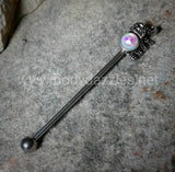 Elephant Industrial Barbell Glitter Opal White 14ga Surgical Stainless Steel Ear Bar Body Jewelry