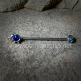 Blue Elephant Industrial Barbell Glitter  14ga Surgical Stainless Steel Ear Bar Body Jewelry
