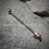 Rose Gold Elephant Industrial Barbell Rhinestone  14ga Surgical Stainless Steel Ear Bar Body Jewelry